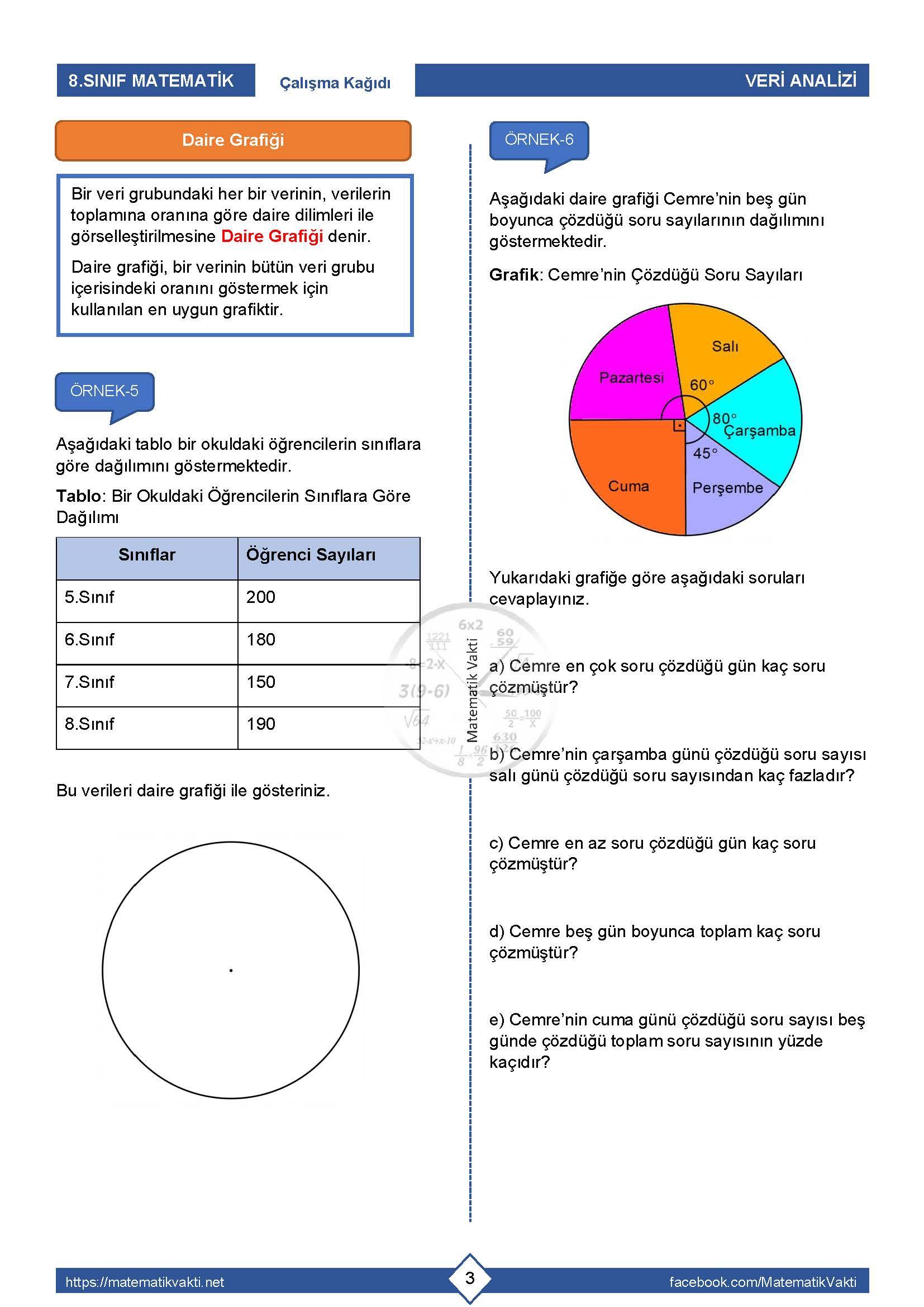 8.Sınıf Veri Analizi Çalışma Kağıdı